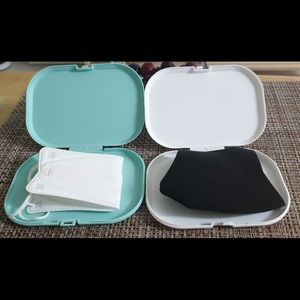 Other - 2 of Face Mask Case in white & mint Made in Korea